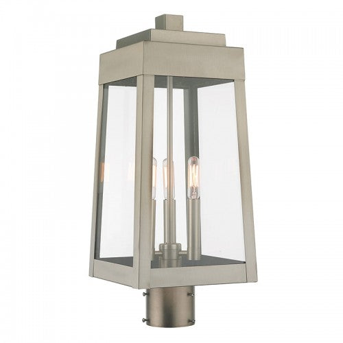 Oslo 3 Light Brushed Nickel Post Top Lantern, Lighting, Laura of Pembroke