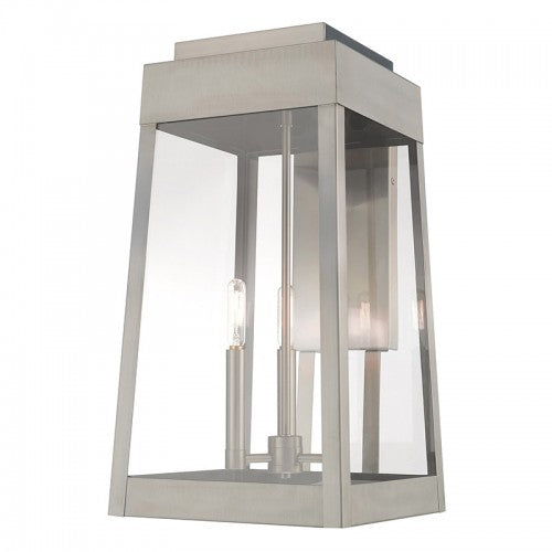 Oslo 3 Light Brushed Nickel Wall Lantern, Lighting, Laura of Pembroke