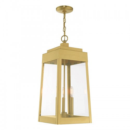 Oslo 3 Light Satin Brass Pendant Lantern, Lighting, Laura of Pembroke