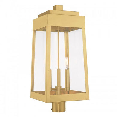 Oslo 3 Light Satin Brass Post Top Lantern, Lighting, Laura of Pembroke