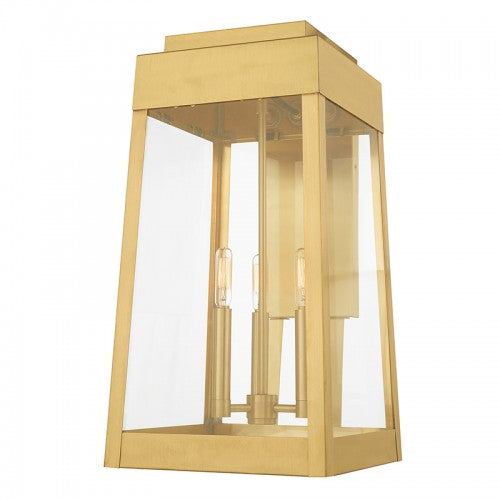 Oslo 3 Light Satin Brass Wall Lantern, Lighting, Laura of Pembroke