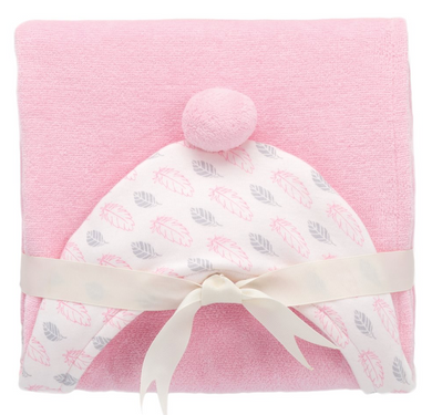PINK FEATHER ORGANIC HOODED BABY BATH WRAP