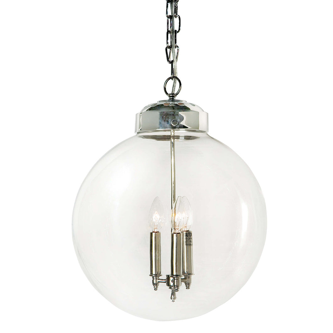 Polished Nickel Globe Pendant