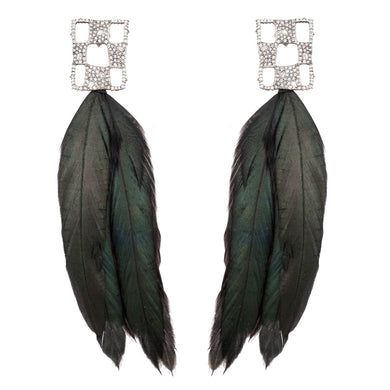 Pave Checkerboard Feather Post Earring