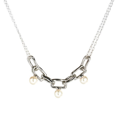 Pearl Studded Chain Link Necklace