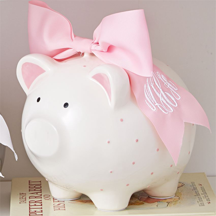 Pink Piggy Bank With Bow, Gifts, Mud Pie, Laura of Pembroke
