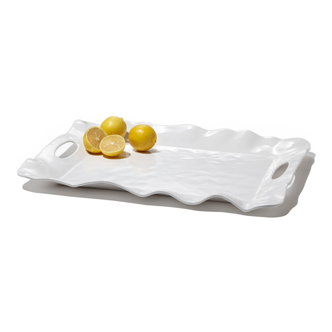 Melamine Havana Rectangular Long Platter - White