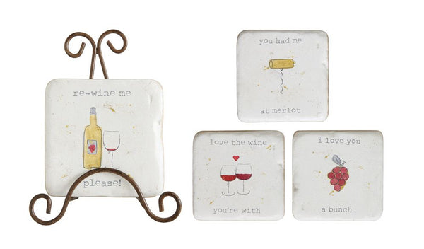 Resin Coasters w/ Wine Saying & Metal Easel
