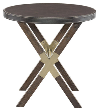 Round Leather Wrapped Top End Table, Home Furnishings, Laura of Pembroke