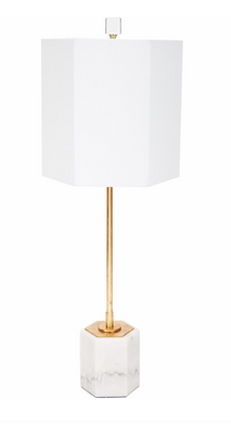 SCOUT HEXAGONAL WHITE MARBLE BUFFET LAMP WITH WHITE LINEN SHADE