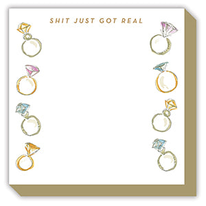 'Shit Just Got Real' Engagement Ring Luxe Notepad