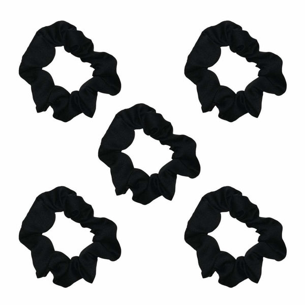 Satin Scrunchies 5pc - Black