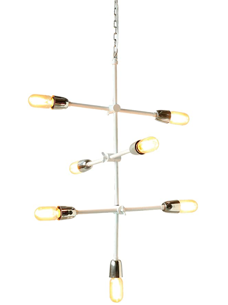 Pure White Metal Chandelier with Seven Lights