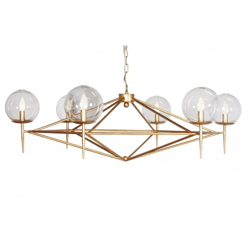 Glass Globe Gold Chandelier