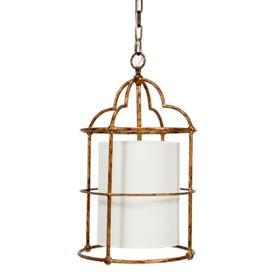 Gold Pendant with Linen Shade, Lighting, Laura of Pembroke