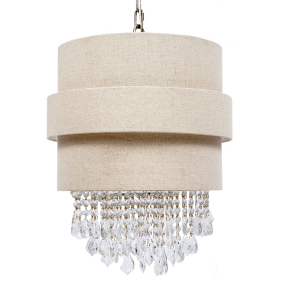 Linen Shade Chandelier with Crystals