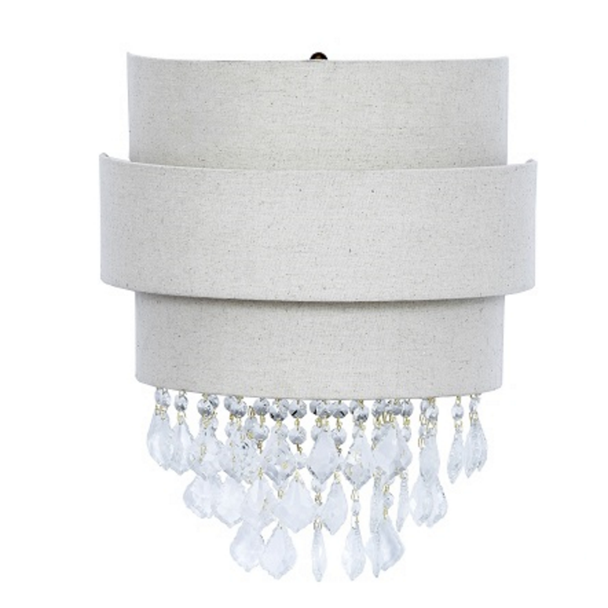 Linen Wall Sconce with Crystals