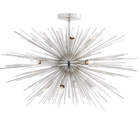 12 Light Polished Nickel Starburst Chandelier