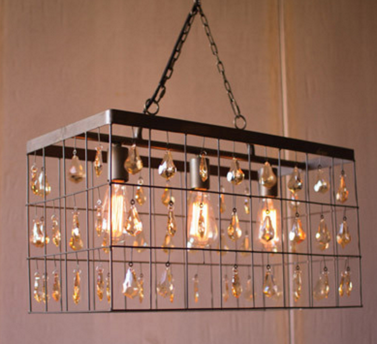Linear Pendant with Amber Glass Gems, Lighting, Laura of Pembroke