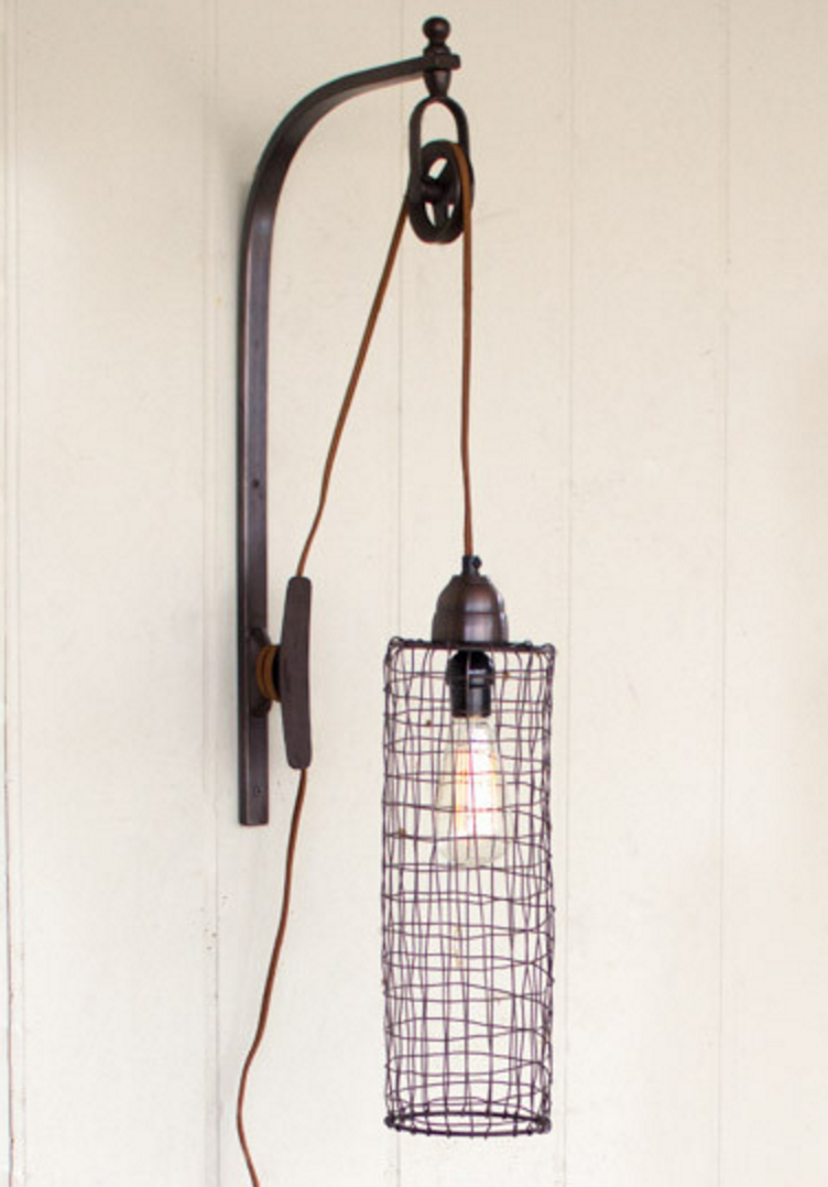 Wire Cylinder Pulley Wall Lamp, Lighting, Laura of Pembroke