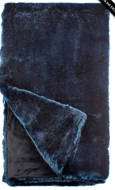 Steel Blue Mink Throw 60 X 60, Home Accessories, Laura of Pembroke