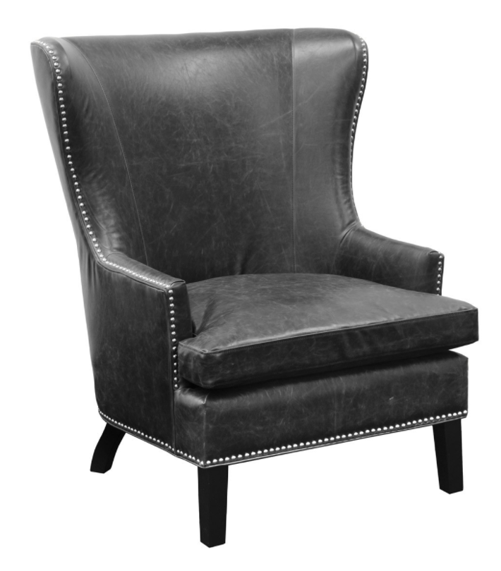 Black Inspired Leather Club Chair, Home Furnishings, Laura of Pembroke