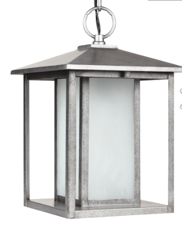 Transitional Minimalism Weathered Pewter 1 Light Outdoor Pendant, Lighting, Laura of Pembroke