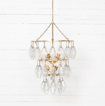 Small Round Chandelier Gold Leaf, Lighting, Laura of Pembroke
