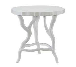 Chalky White Matte Finish Chairside Table