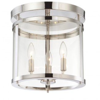 Polished Nickel 3 Light Semi-Flush, Lighting, Laura of Pembroke