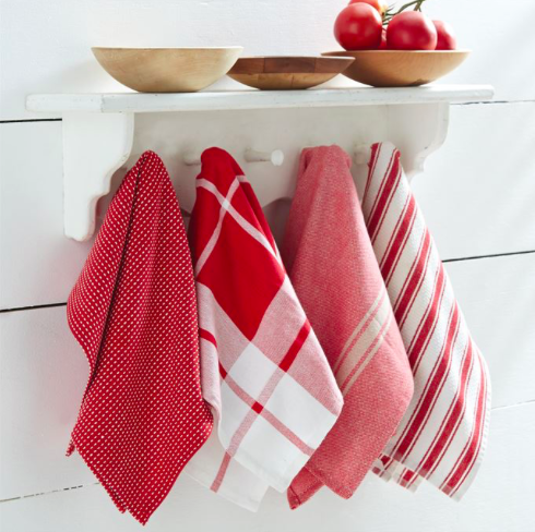 Red Dish Towels Set