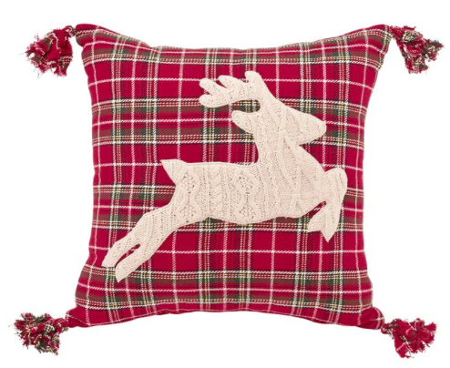 Reindeer Cable Knit Pillow