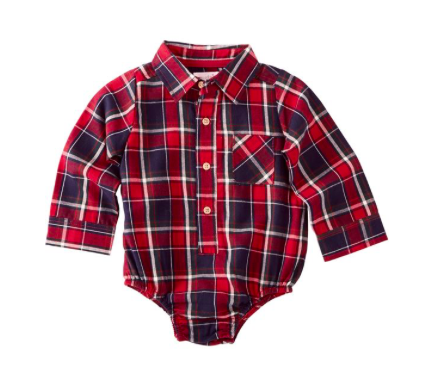 Flannel Plaid Collared Crawler