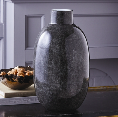 Large Grey Shagreen Oval Vase, Home Accessories, Laura of Pembroke