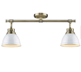 2 Light Semi-Flush in Aged Brass with White Shades