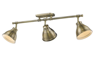 3 Light Semi-Flush, Track Light in Aged Brass with Aged Brass Shades, Lighting, Laura of Pembroke