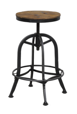 Round Wood/Metal Barstool, Home Furnishings, Laura of Pembroke