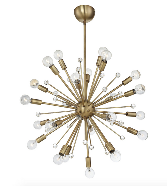 Sputnik Warm Brass 24 Light Chandelier