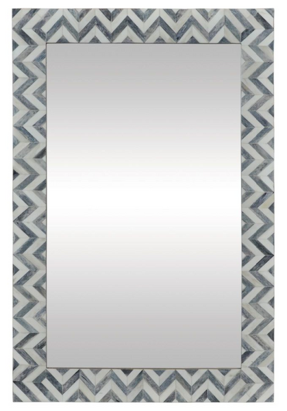 Bone and Grey Chevron Mirror