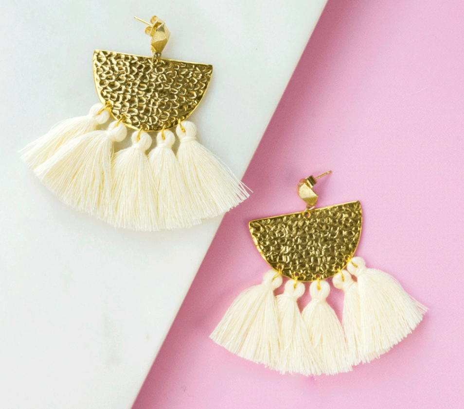 Ivory Hammered Fringe Earrings