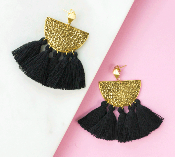 Black Hammered Fringe Earrings