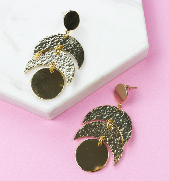 Moon Phased Gold Statement Earrings