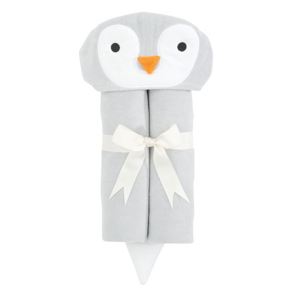 Gray Penguin Hooded Bath Wrap