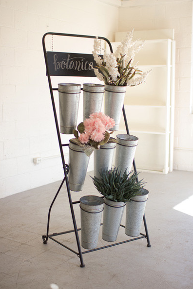 Flower Rack With Nine Galvanized Buckets, Home Accessories, Laura of Pembroke