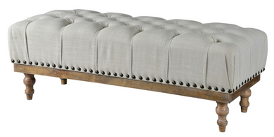 Tufted Ottoman with Nail Heads
