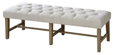 Classic Oatmeal Linen Tufted Bench
