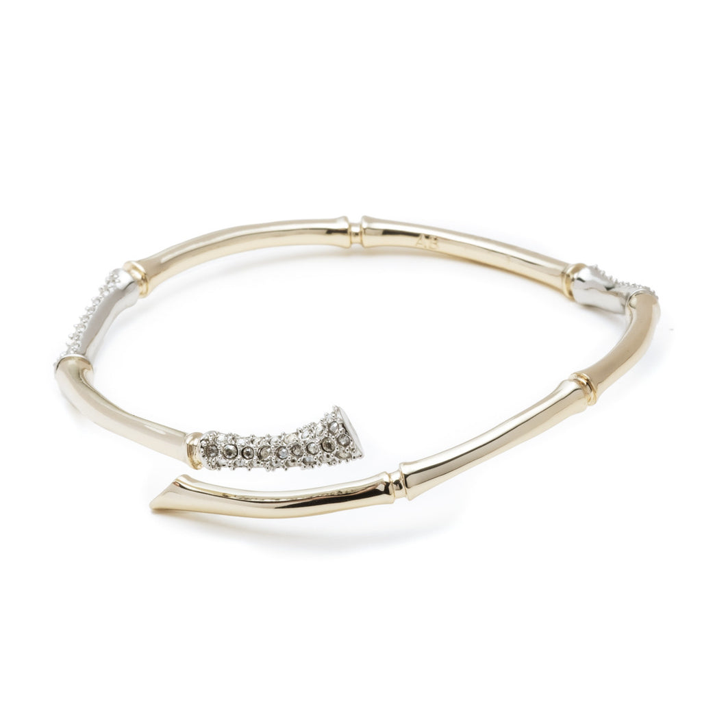 Sculptural Bamboo Crystal Encrusted Bangle Bracelet