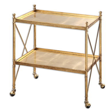 Gold Leaf Finish Serving Cart