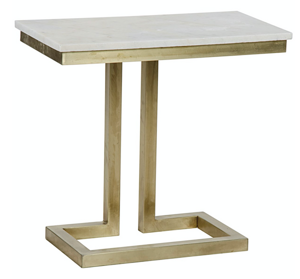 Side Table, Antique Brass, Metal and Quartz