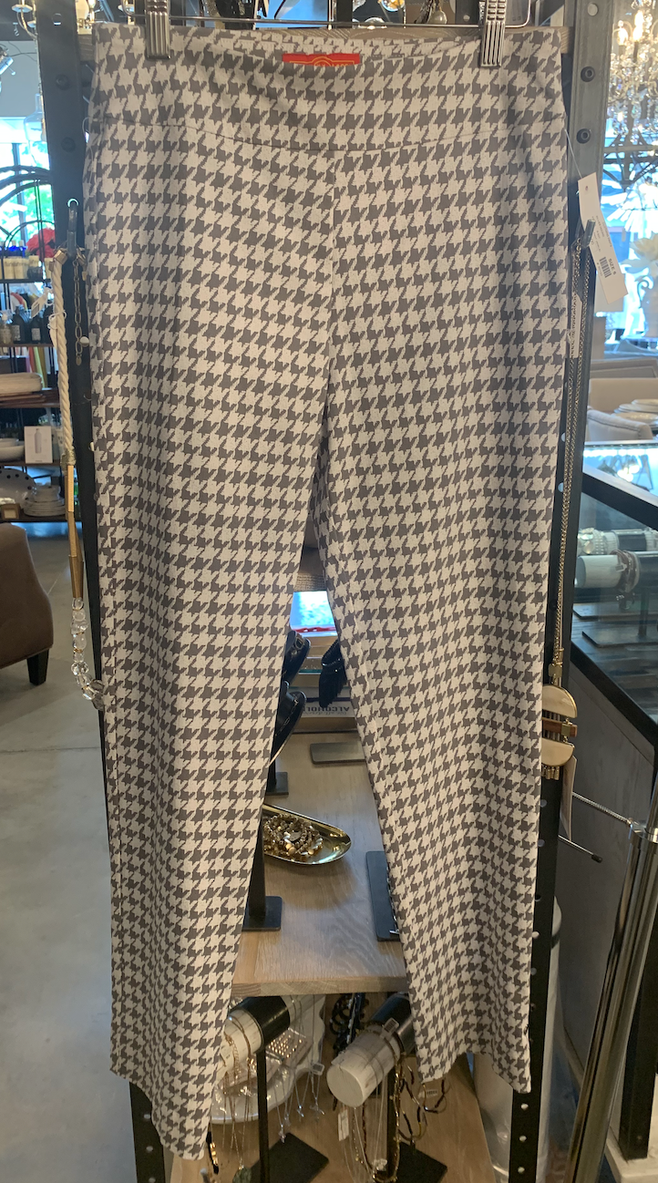 Silver Houndstooth Pull On Pant